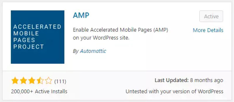 Install and activate AMP plugin